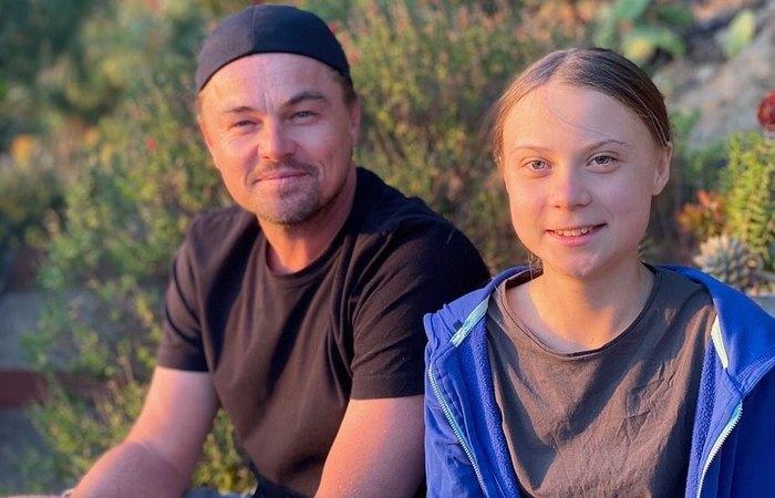 """Espero que a mensagem de Greta seja um chamado para acordar líderes do mundo"""", disse o ator em publicação no Instagram ao lado da jovem ativista (Foto: Instagram/Reprodução )"""
