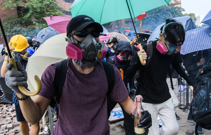 Manifestantes em Hong Kong, na China. (Foto: Anthony Wallace/AFP )