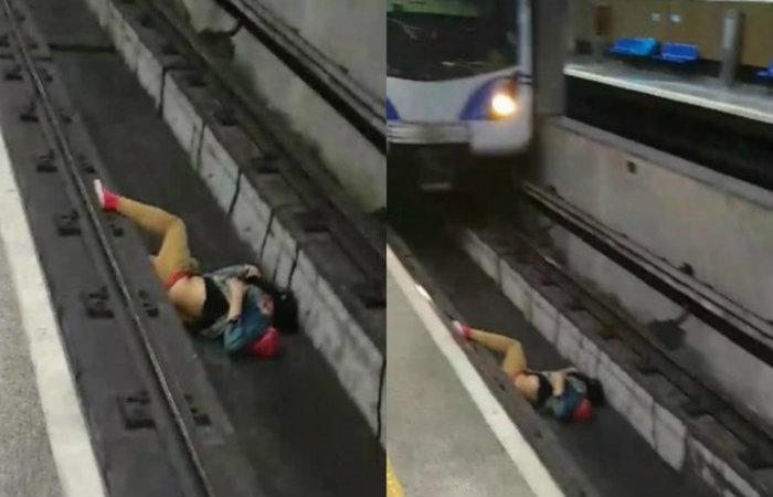 Um homem que caiu nos trilhos da estação São Joaquim, na linha 1-azul do metrô e quase foi atropelado (Foto: Reprodução/Facebook        )