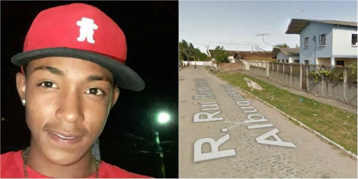 Juan Malave, de 15 anos, morreu após ser atingido por disparos efetuados por Antônio na Rua Rui Barbosa Albuquerque. (Fotos: Facebook/Reprodução e Google Street View/Reprodução.)