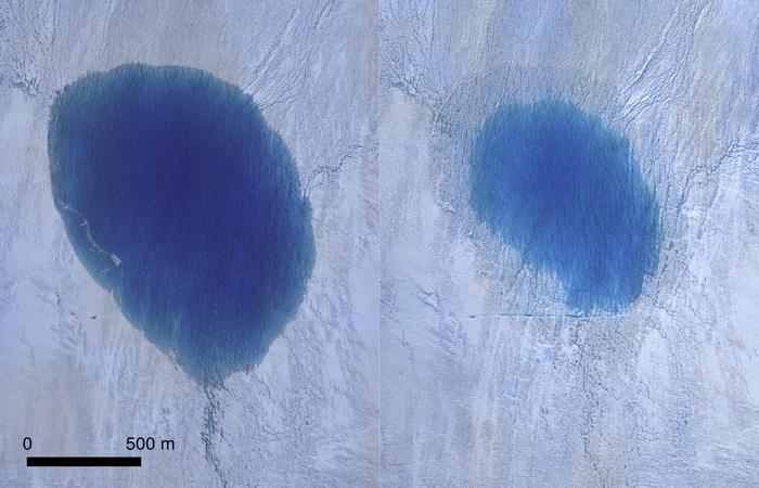 Fotos aéreas tiradas pelo pequeno drone da equipe de pesquisadores mostram a situação do lago antes e depois da infiltração (Foto: Tom CHUDLEY / AFP)