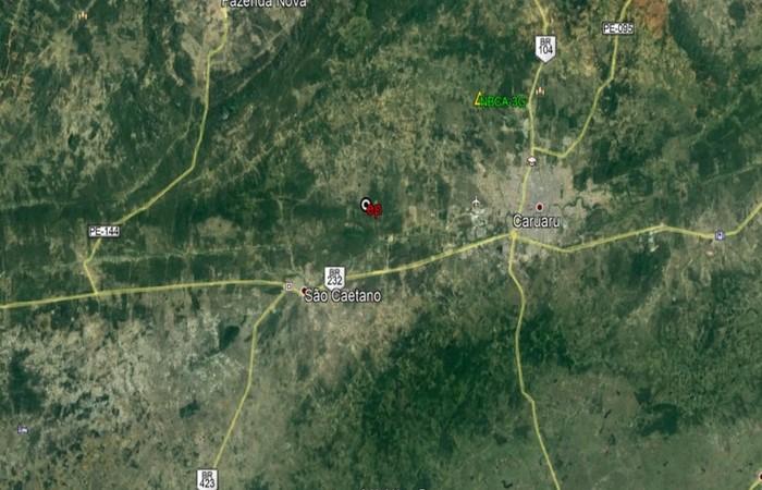 Mapa de localização do tremor em Caruaru. (Foto: Laboratório de Sismologia da UFRN/Divulgação)