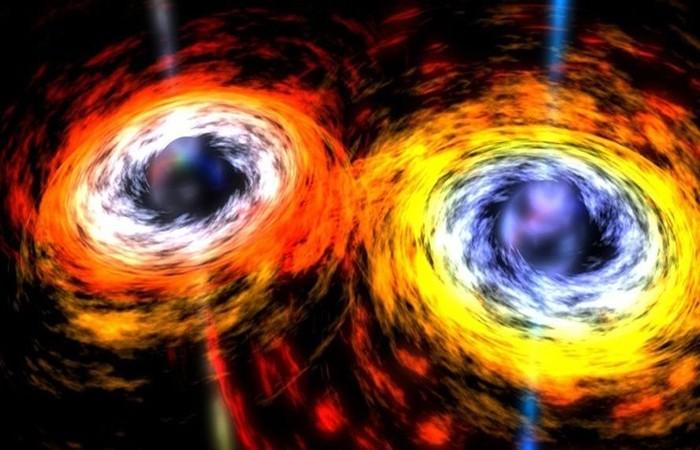 Concepção artística da fusão de dois buracos negros  (Foto: NASA/Dana Berry)