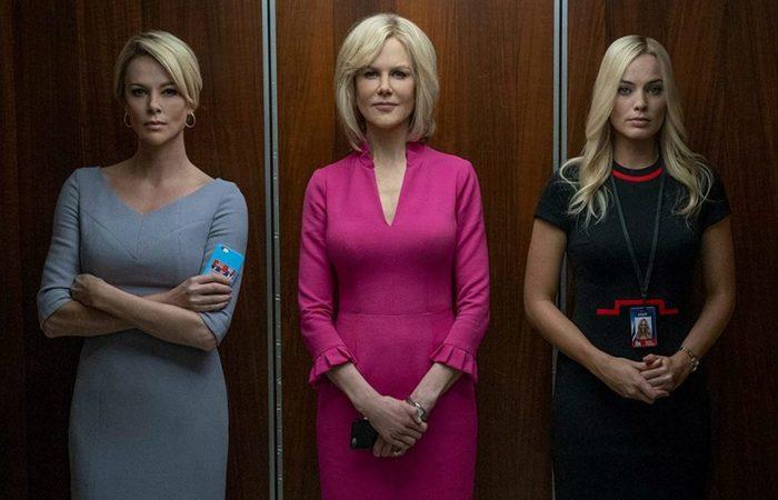 Charlize Theron (Megyn Kelly), Nicole Kidman (Gretchen Carlson) e Margot Robbie (Kayla Pospisil) em cena do filme. Charlize e Margot foram indicadas ao Oscar por seus desempenhos como atriz e atriz coadjuvante (Foto: Divulgação/Paris Filmes)