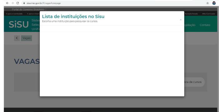 Estudante pernambucano relata que página do Sisu fica em branco. (Foto: Reprodução da internet)