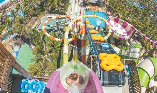 Emoção: Tobogãs desafiam a coragem dos visitantes, que dispõem de brinquedos com várias alturas (Beach Park/divulgação)