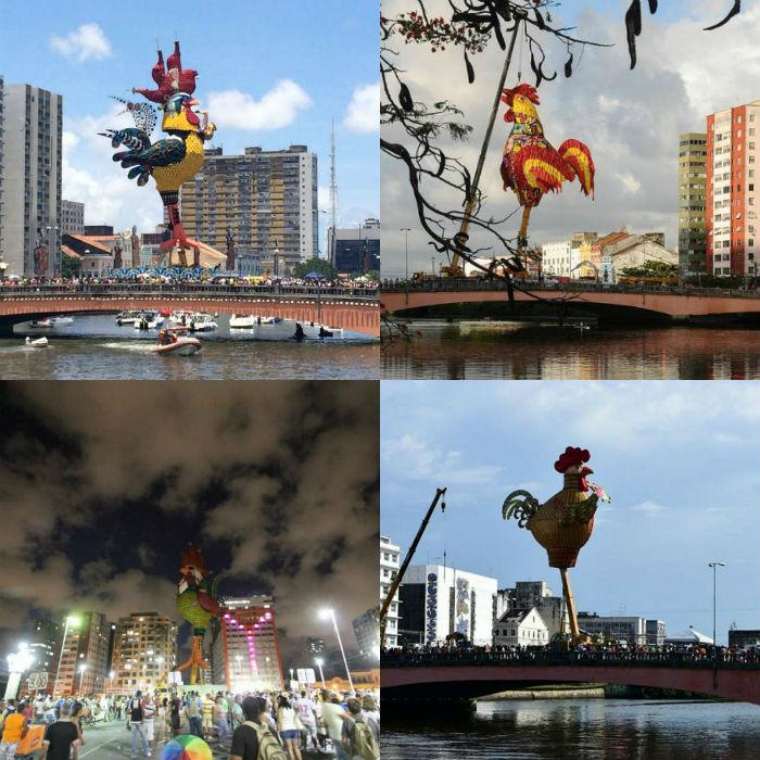 Esculturas do Galo da Madrugada de 2015 a 2018. (Fotos: Arquivo DP)