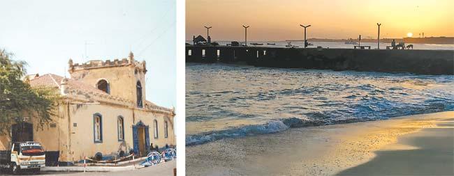 Quartel Jaime Mota, erguido em 1826 na capital, Praia. O pôr do Sol é um espetáculo em que o céu fica com tonalidades do amarelo do Sol (Inácio Melo)