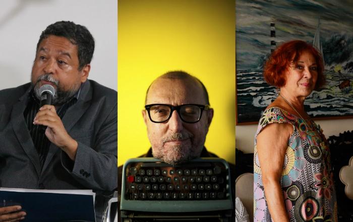 Mário Hélio, Xico Sá e Katia Mesel são alguns nomes que assinam textos na publicação. (Tarciso Augusto/DP, Daniel Marenco/Divulgação e Thalyta Tavares/DP)