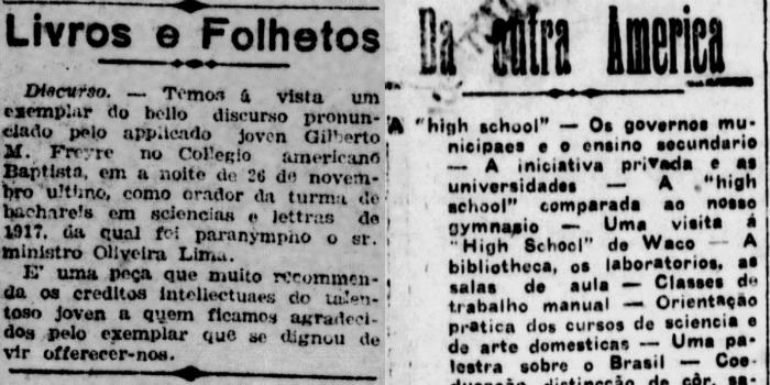 Primeira menção ao seu nome (28 de fevereiro de 1918) e crônica da série Da Outra América (31 de agosto de 1918). (Foto: Arquivo DP)