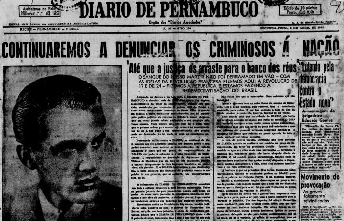 Capa do Diario após assassinato de Demócrito Souza Filho na Pracinha no Diario (9 de abril de 1945) (Foto: Arquivo DP)
