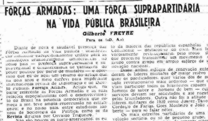 Primeiro artigo após golpe militar de 1964, exaltando o novo regime (5 de abril de 1964) (Foto: Arquivo DP)