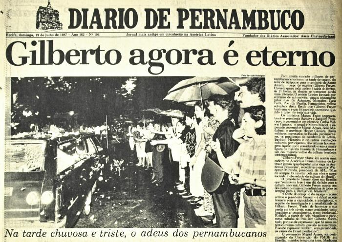 Capa da morte (19 de julho de 1987) (Foto: Arquivo DP)