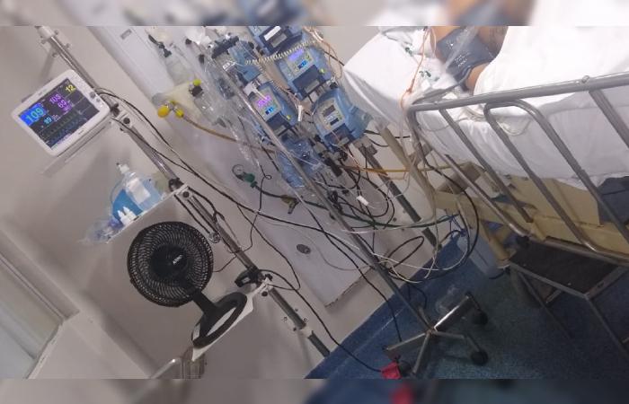 SEEPE denuncia más condições em hospitais estaduais, como o Correia Picanço, referência para casos de infecções. Sindicato alega que ar-condicionado quebrado leva pessoas a usarem ventiladores até em UTIs. (Foto: Cortesia/Whatsapp.)