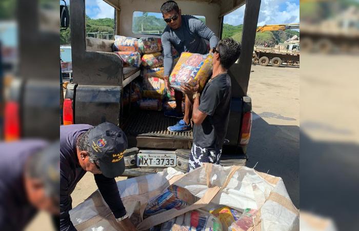 As 250 cestas básicas doadas foram entregues aos moradores de Noronha. (Foto: Cortesia/Whatsapp.)