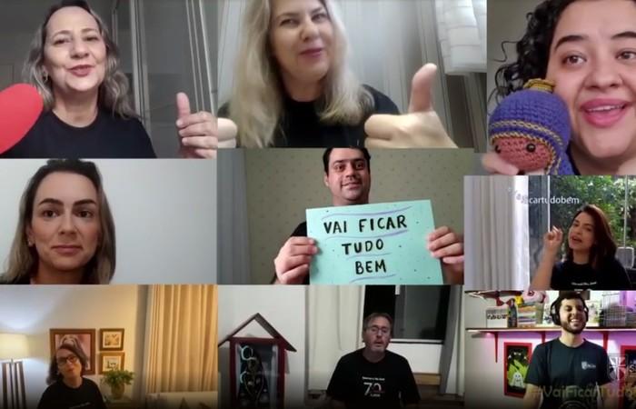 Professores cantaram, cada um na sua casa, um trecho da música  (Foto: Divulgação/Externado São José)