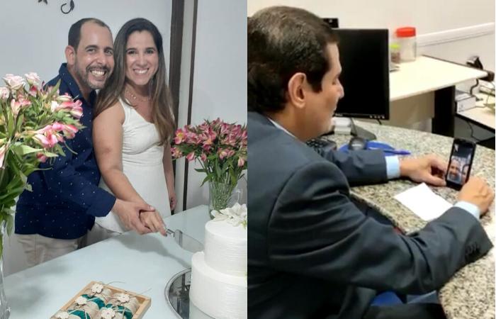 Denise Coutinho e Marcelo Siqueira disseram sim em uma celebração do juiz da 1ª Vara de Família e Registro Civil da Capital, Clicério Bezerra, realizada online (Fotos: Cortesia / Whatsapp)