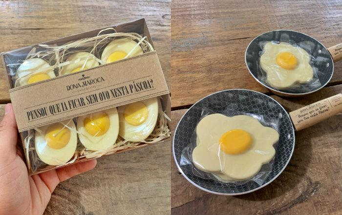 A Dona Maroca criou linha divertida de ovinhos de chocolate na frigideira e a bandeja de ovos 'cozidos' (Foto: Divulgação)