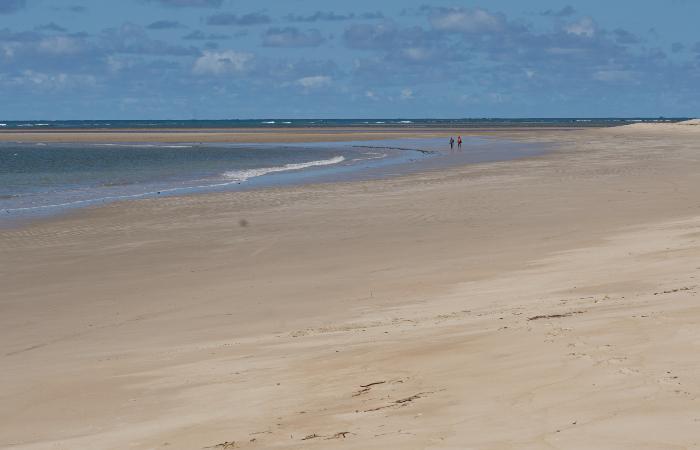 Praia da Boca da Barra, em Tamandaré, praticamente vazia. (Foto: Peu Ricardo/DP.)
