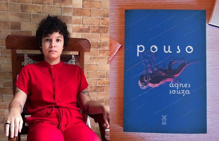 Ágnes Souza e capa de Pouso. (Foto: Divulgação)