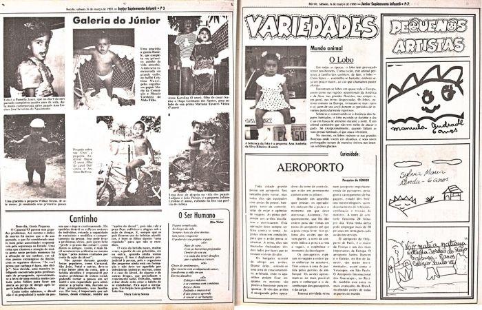 Páginas do Júnior na década de 1990 (Foto: Acervo DP)
