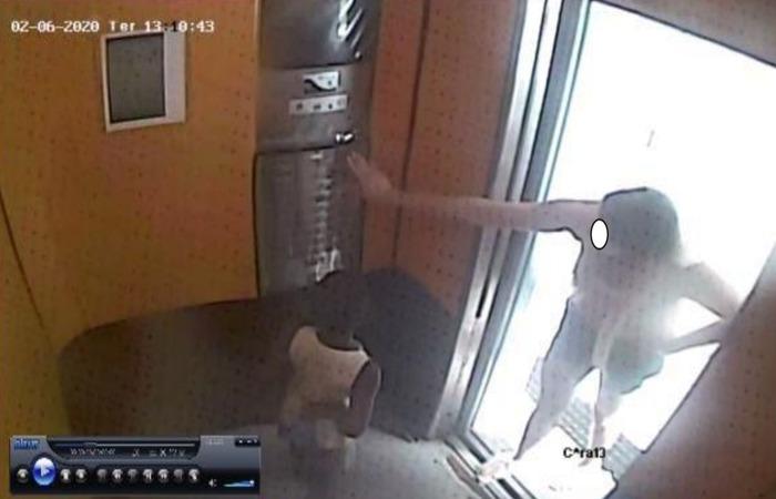 Imagens do laudo pericial mostram momento em que Sarí, segundo o Instituto de Criminalística, aciona o botão da cobertura. Não foi especificado se o elevador chegou até lá. (Foto: Reprodução/Polícia Civil.)