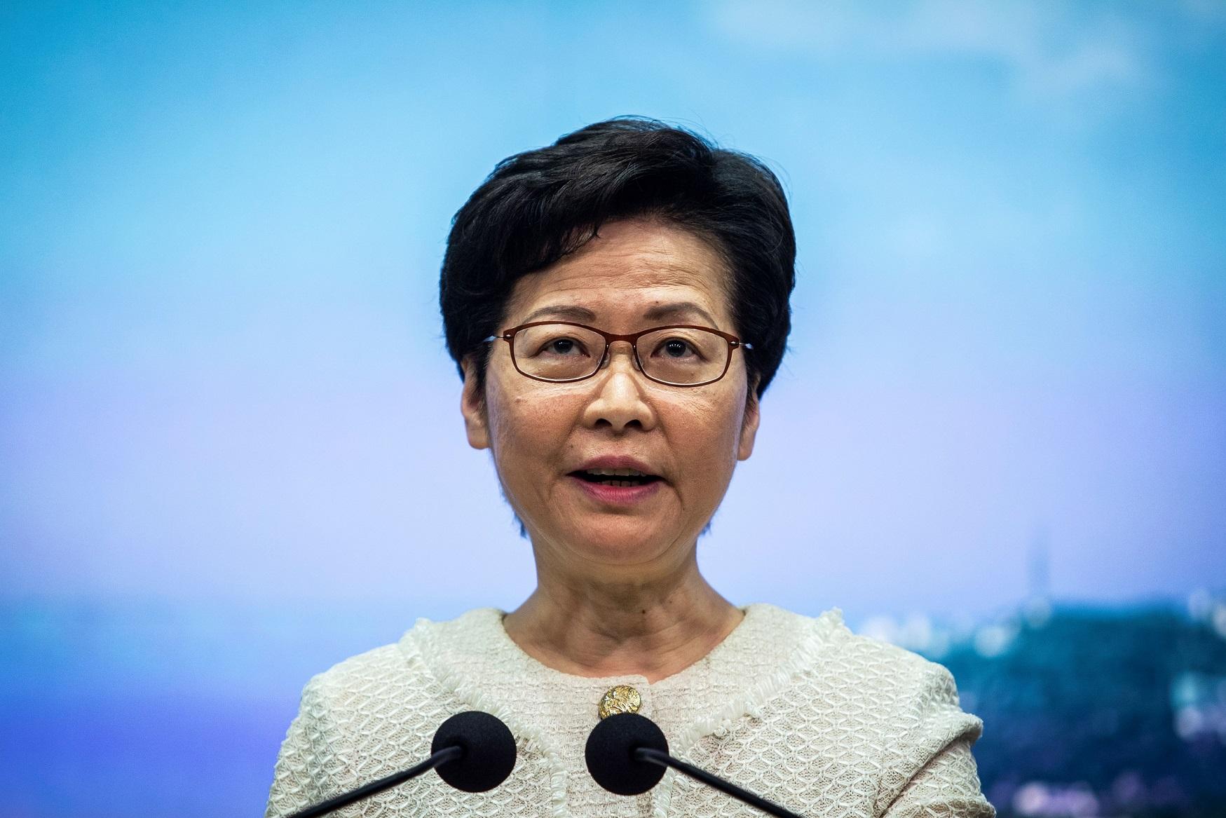 (Chefe do Executivo de Hong Kong, Carrie Lam. Foto: ISAAC LAWRENCE / AFP)