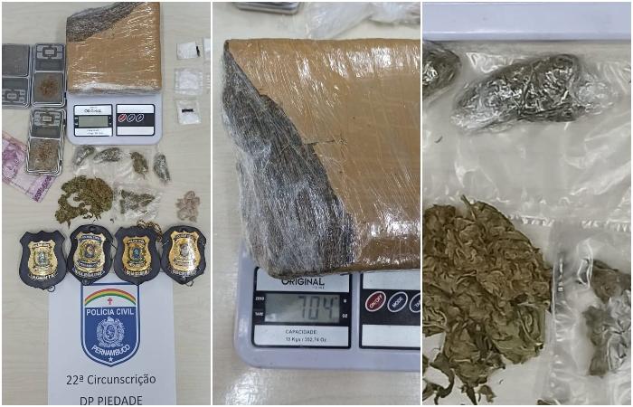 Material foi apreendido com o suspeito de 26 anos. (Foto: Reprodução/PCPE.)