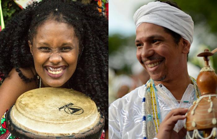 Os arte-educadores Kemla Baptista e Marconi Bispo têm como objetivo levar à garotada as histórias afro-brasileiras (Fotos: Divulgação e Maria Chaves/Divulgação)