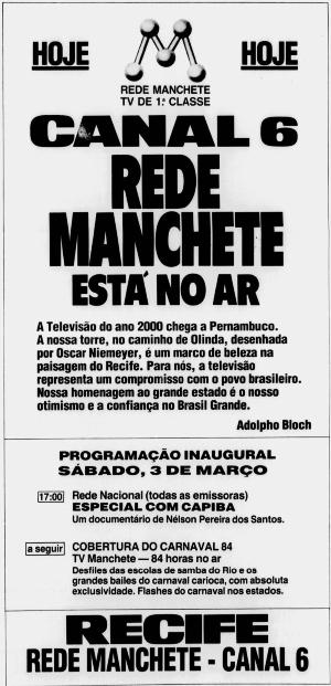 (Anúncio de lançamento na edição de 03/03/1984 do Diario.)