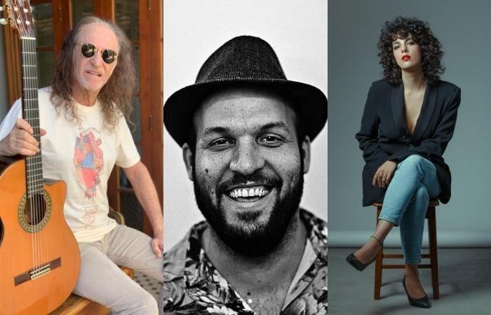 Alceu Valença e Céu estão entre os artistas confirmados no festival para ajudar Carranca (centro) (Foto: Alceu Valença, Fábio Carranca e Fábio Audi/Divulgação)
