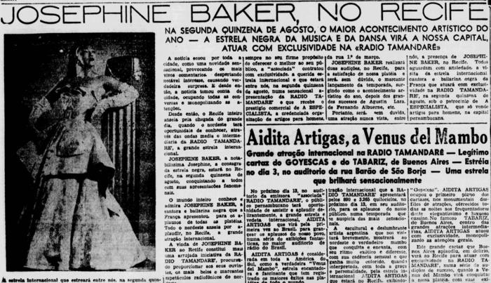 Notícia sobre show de Baker no Recife, publicada em 3 de agosto de 1952 (Foto: Acervo DP)