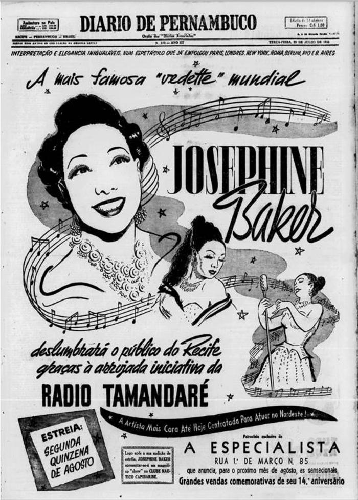 Capa com anúncio sobre show em 28 de julho de 1952 (Foto: Acervo DP)