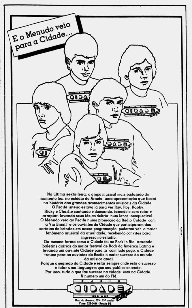 Anúncio da Rádio Cidade em 3 de março de 1985 (Foto: Arquivo DP)