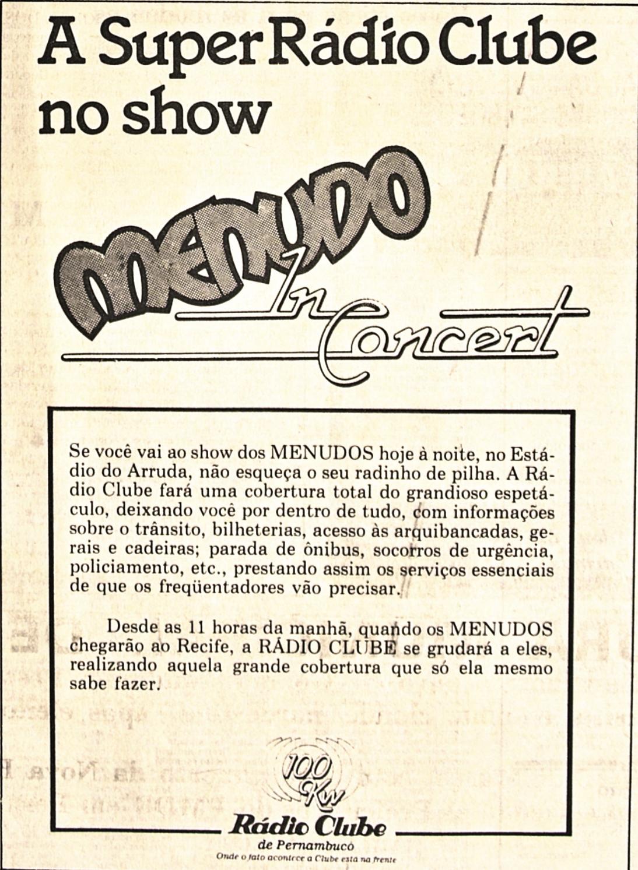 Anúncio da Rádio Clube em 1º de março de 1985 (Foto: Arquivo DP)