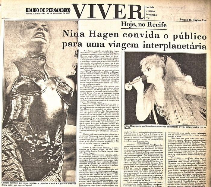 Capa do caderno Viver em 18 de setembro de 1985, divulgando show de Nina Hagen. (Foto: Arquivo DP)