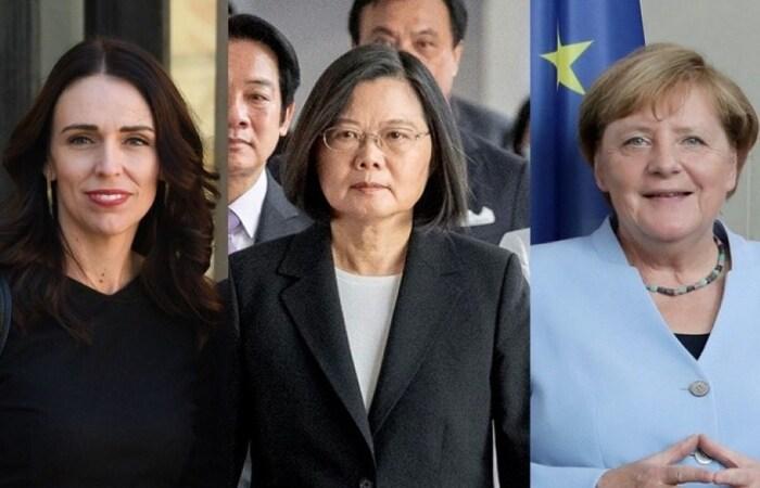 A primeira-ministra da Nova Zelândia, Jacinda Ardern; a presidente de Taiwan, Tsai Ing-Wen e a primeira-ministra alemã, Angela Merkel. (FOTO: AFP)