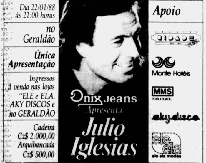 Anúncio da venda de ingressos para o show de Julio Iglesias no Recife (Foto: Arquivo DP)