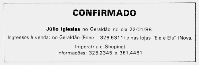 Anúncio da confirmação para o show de Julio Iglesias no Recife (Foto: Arquivo DP)