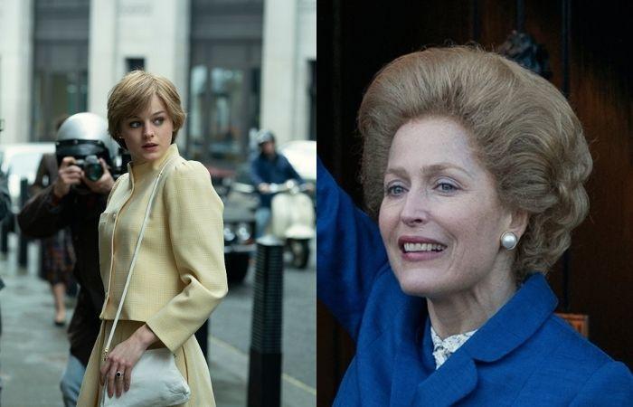 Emma Corrin é Lady Di, enquanto Gillian Anderson vive Margaret Thatcher (Foto: Divulgação)