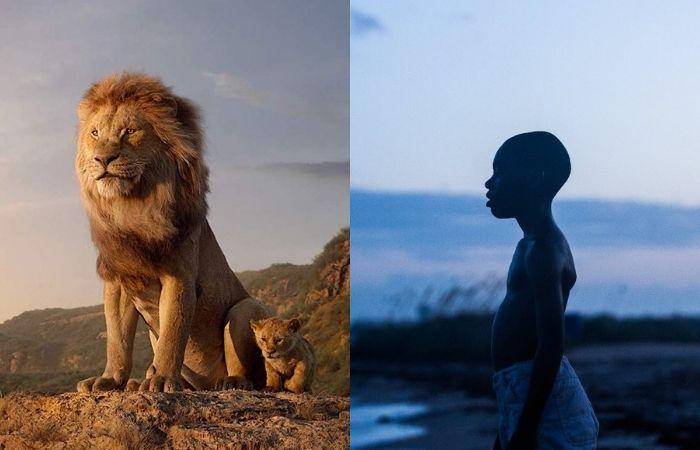 Cenas de O Rei Leão (2019) e Moonlight (2016) (Foto: Disney/Divulgação e Diamond Films/Divulgação)