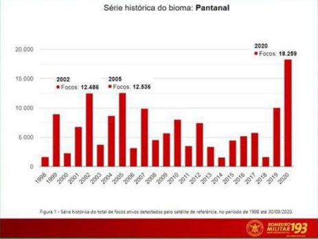 Relatório de combate aos incêndios florestais em MS (Foto: Divulgação/Facebook/MSGOV )