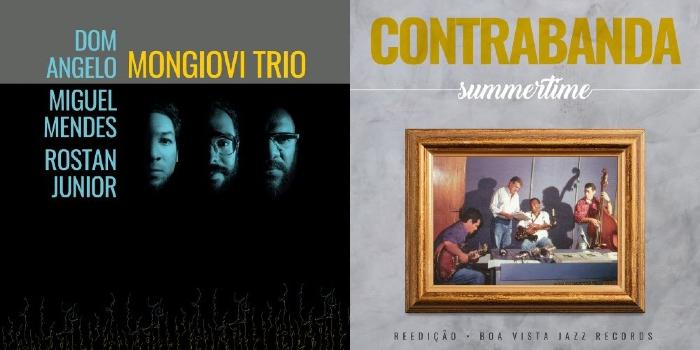 Capas dos álbuns Mongiovi Trio, do projeto homônimo, e Summertime, da Contrabanda (Foto: Divulgação)