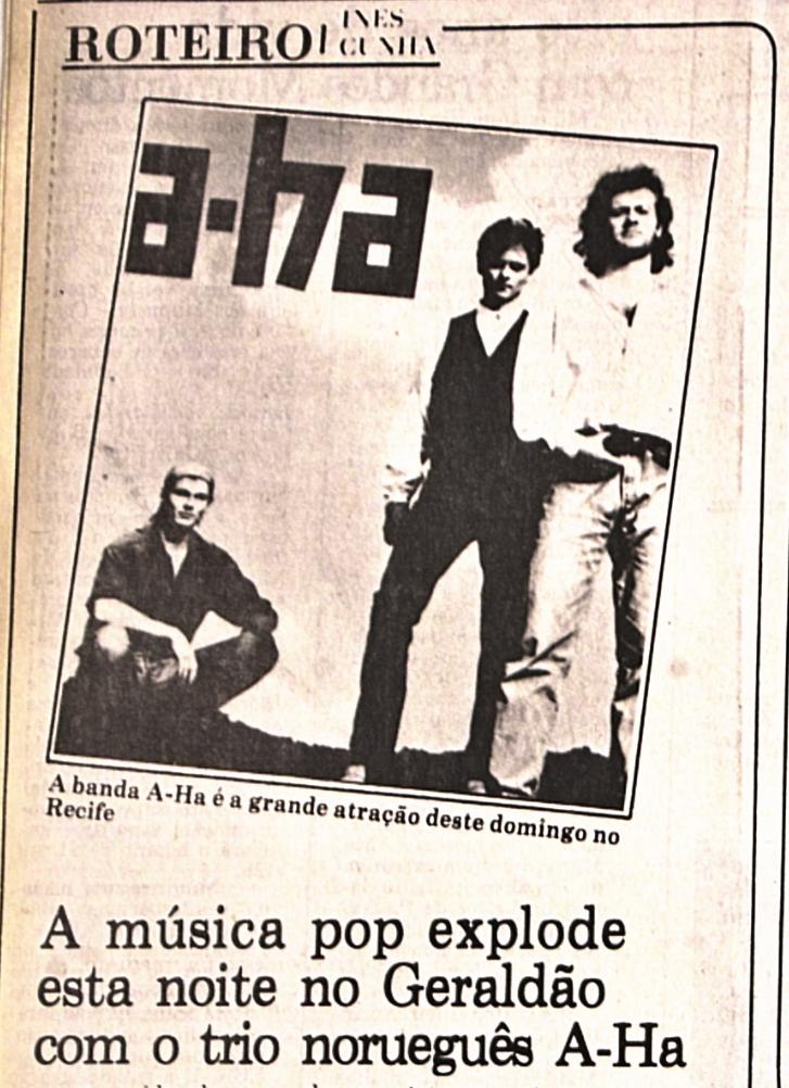 Notícia sobre show de A-ha no Diario, em 2 de junho de 1991 (Foto: Arquivo DP)