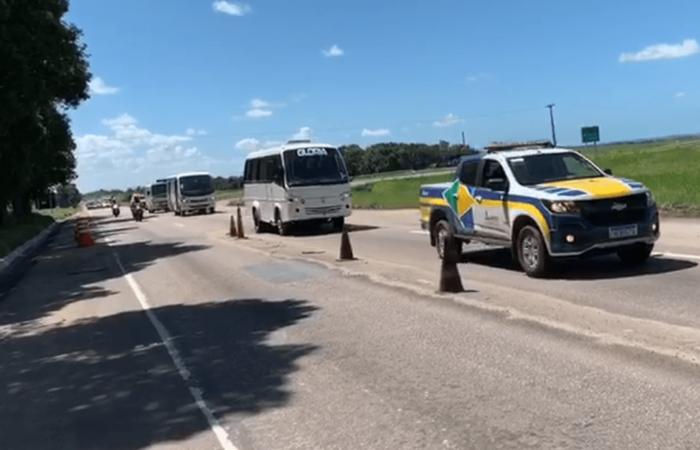 Veículos apreendidos realizando transporte clandestino na região de Igarassu/PE e Goiana/PE (Foto: ANTT/ Divulgação)