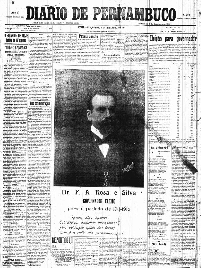 Capa do Diario de Pernambuco em 7 de novembro, anunciando a vitória de Rosa e Silva (Foto: Arquivo DP)
