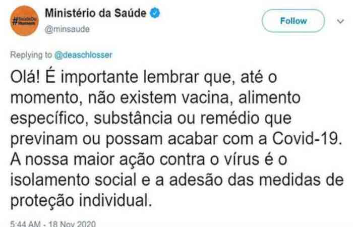 (Foto: Reprodução/Twitter Ministério da Saúde @minsaude)