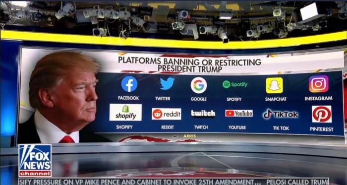 Rede de televisão Fox News mostra lista de redes sociais que impuseram restrições a Donald Trump; assunto repercutiu na internet (Foto: Reprodução/ Twitter)