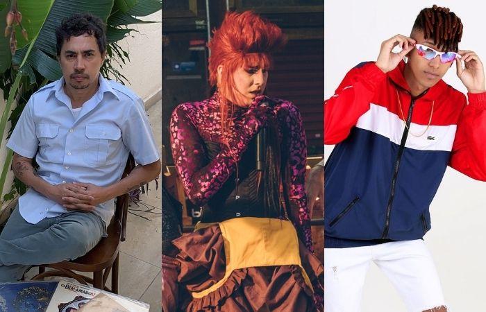 O produtor musical Pupillo, o cantor Getúlio Abelha e o produtor de brega-funk Marley no Beat estão na programação (Foto: Céu, Filipa Aurélio e Cenário Filmes/Divulgação)