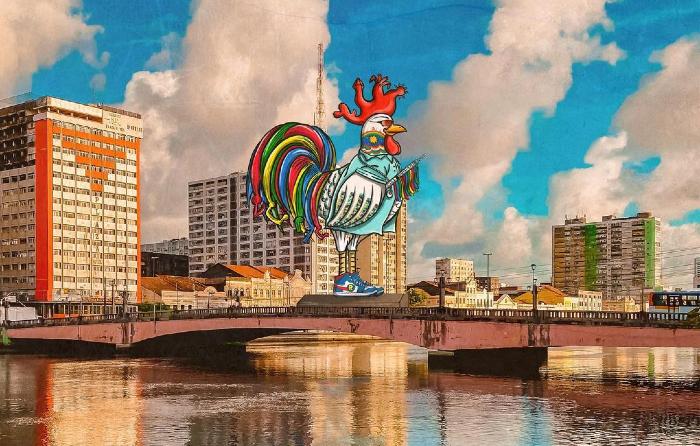 A arte foi inspirada no Galo da Madrugada de 2011 (Foto: Recife Ordinário/Divulgação)